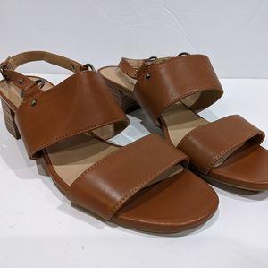 Naturalizer Aubrey Block Heel Sandal Cognac Brown